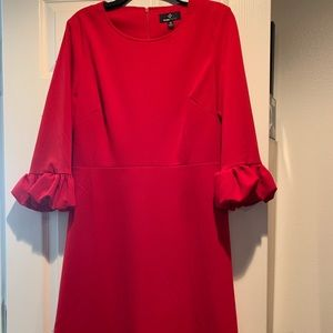 Ronni Nicole red puffy sleeve a line dress